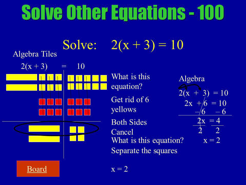 2 Board Solve Other Equations - 100 Solve: 2(x + 3) = 10 Algebra Tiles 2(x + 3) = 10 Algebra 2(x + 3) = 10 2x + 6 = 10 What is this equation.