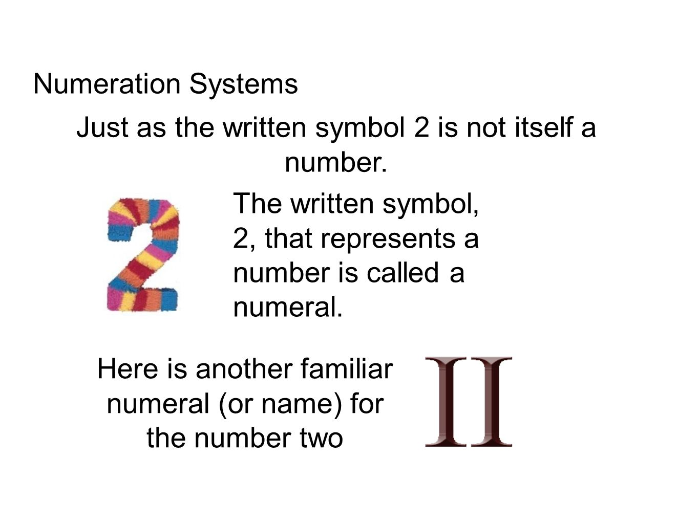 Egyptian Numeration System Developed: 3400 B.C.E One Ten One Hundred One Thousand Ten Thousand One Hundred Thousand One Million reed heel bone coiled rope lotus flower bent finger burbot fish kneeling figure or astonished man Group by tens New symbols would be needed as system grows No place value No use of zero
