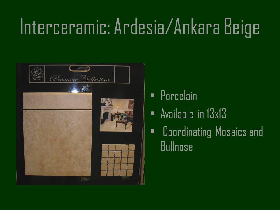 Interceramic: Ardesia/Ankara Beige Porcelain Available in 13x13 Coordinating Mosaics and Bullnose
