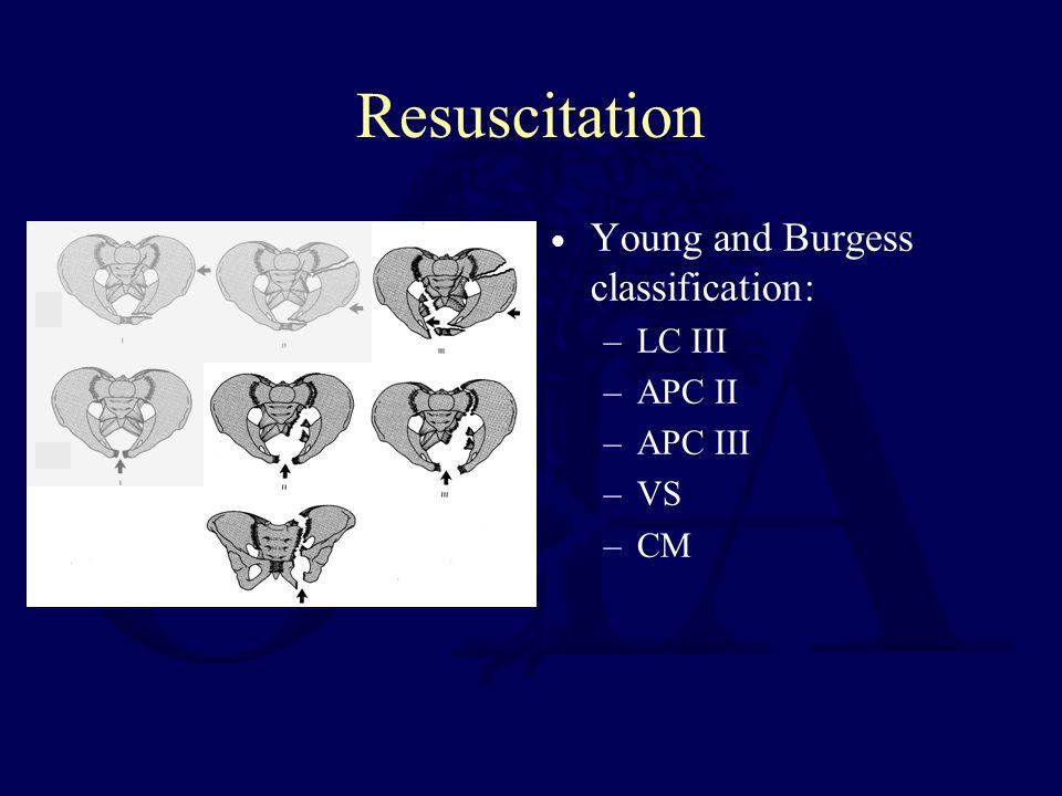 Resuscitation Young and Burgess classification: –LC III –APC II –APC III –VS –CM