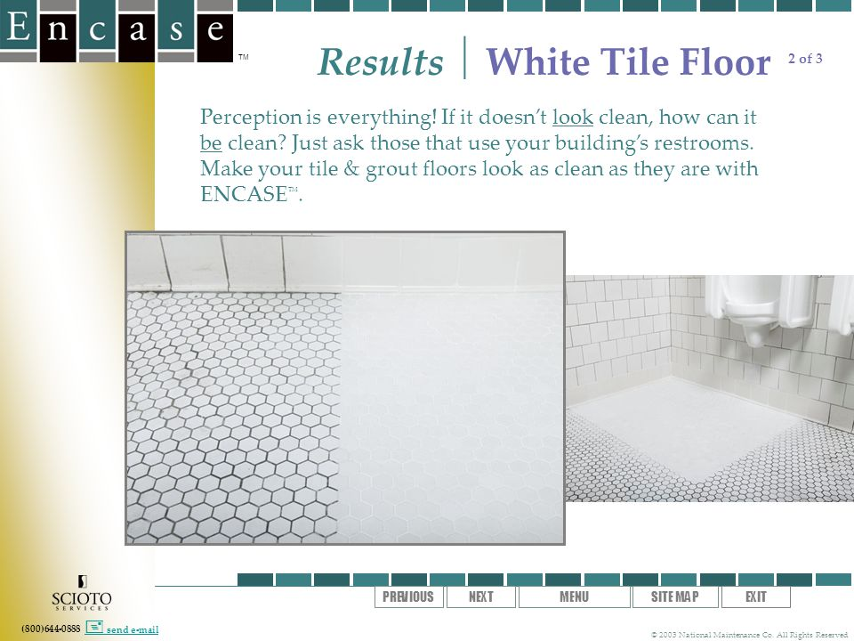 (800)644-0888 TM © 2003 National Maintenance Co. All Rights Reserved SITE MAPEXITMENUNEXTPREVIOUS send e-mail Results White Tile Floor Perception is e