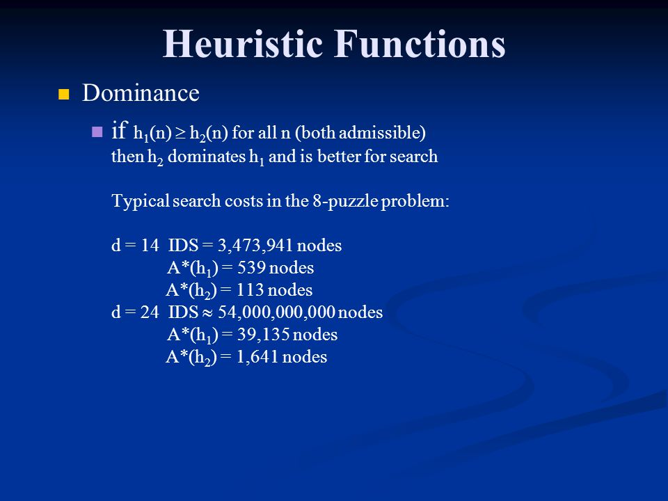 Heuristic Functions Dominance if h 1 (n) h 2 (n) for all n (both admissible) then h 2 dominates h 1 and is better for search Typical search costs in t