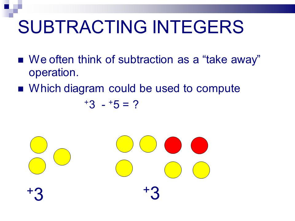 SUBTRACTING INTEGERS We often think of subtraction as a take away operation.