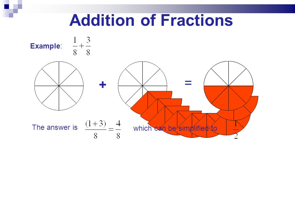+ = Example: The answer is which can be simplified to Addition of Fractions