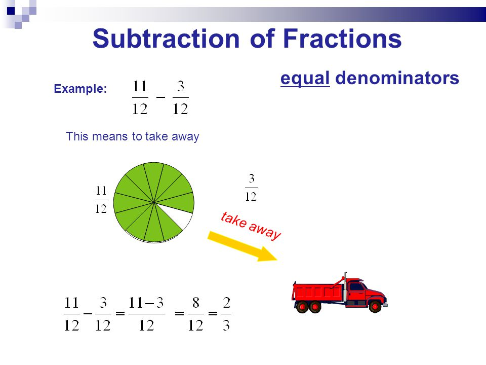 Subtraction of Fractions Example: This means to take away take away equal denominators