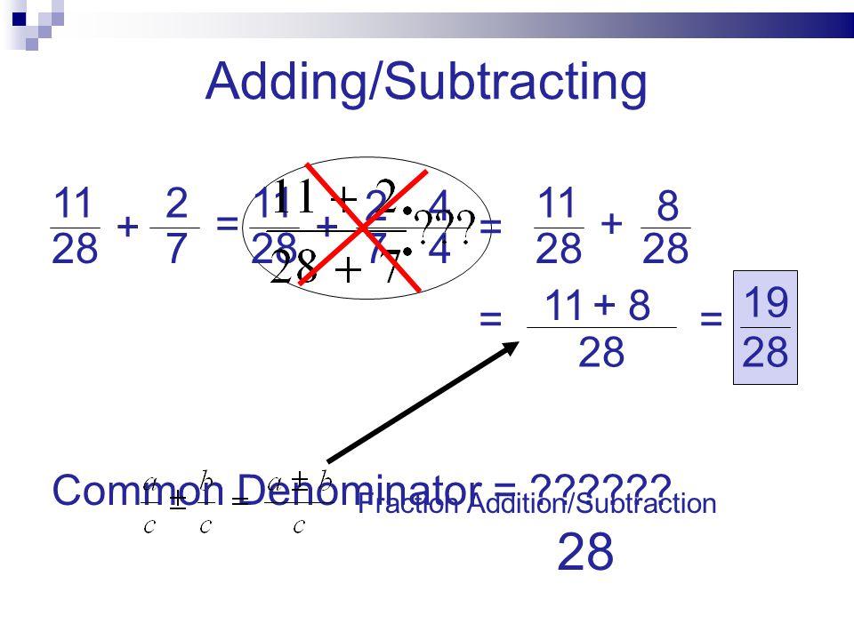 28 112 7 + + + = = = Common Denominator = ?????? 28 11 7 2 4 4 28 11 28 8 +118 = 28 19 Fraction Addition/Subtraction Adding/Subtracting