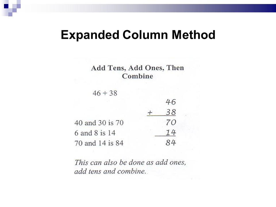 Expanded Column Method