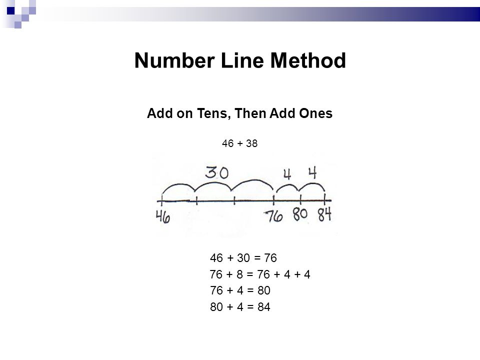 Number Line Method Add on Tens, Then Add Ones 46 + 38 46 + 30 = 76 76 + 8 = 76 + 4 + 4 76 + 4 = 80 80 + 4 = 84