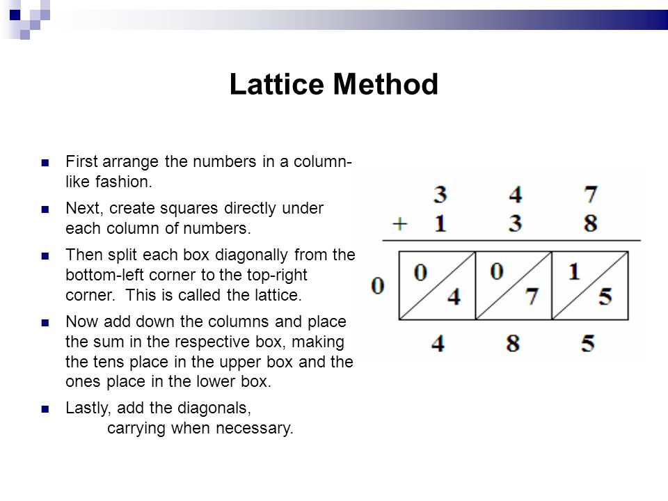 Lattice Method First arrange the numbers in a column- like fashion. Next, create squares directly under each column of numbers. Then split each box di