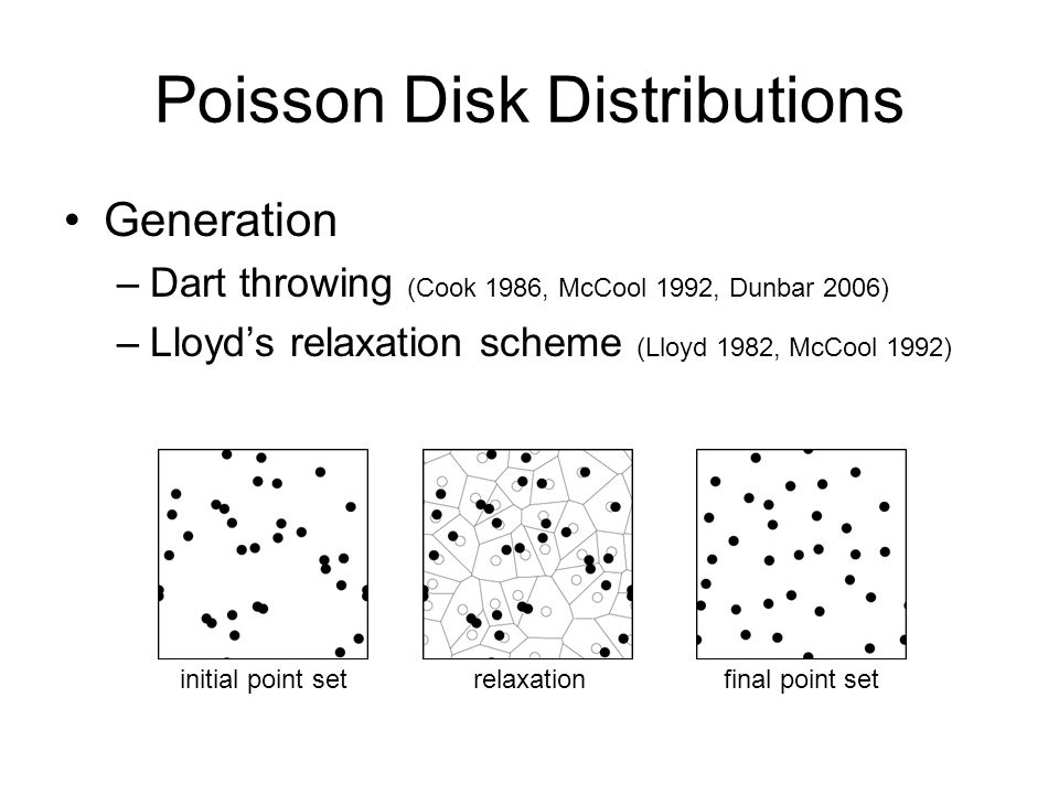 Poisson Disk Distributions Generation –Dart throwing (Cook 1986, McCool 1992, Dunbar 2006) –Lloyds relaxation scheme (Lloyd 1982, McCool 1992) initial point setrelaxationfinal point set