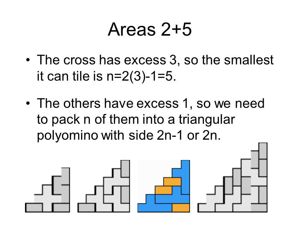 Areas 2+5 The cross has excess 3, so the smallest it can tile is n=2(3)-1=5.