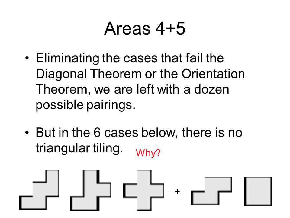 Areas 4+5 Eliminating the cases that fail the Diagonal Theorem or the Orientation Theorem, we are left with a dozen possible pairings.