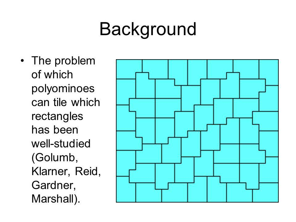 Areas 2+5 There are 12 polyominoes with area 5, but only 4 of them have the diagonal property.