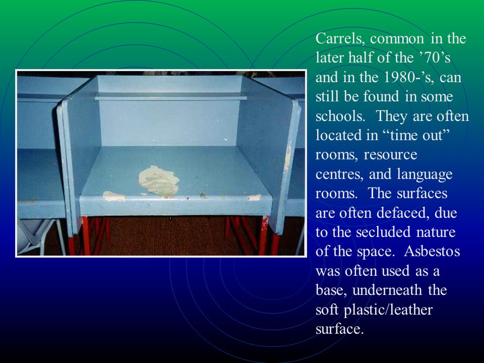 Carrels, common in the later half of the 70s and in the 1980-s, can still be found in some schools.
