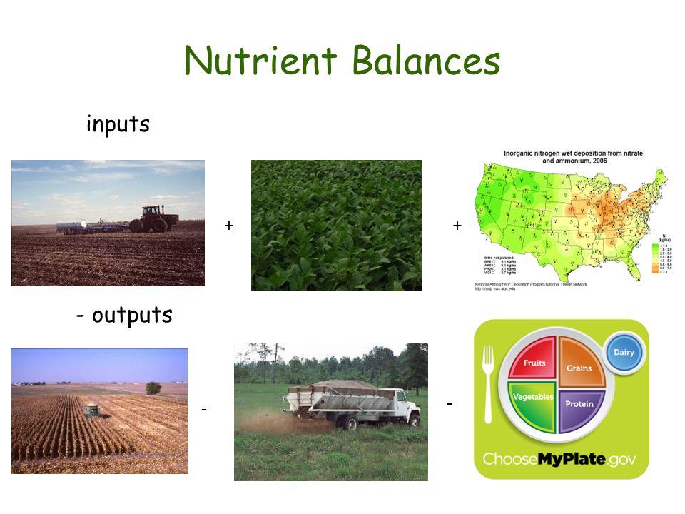 Nutrient Balances inputs - + - + - outputs