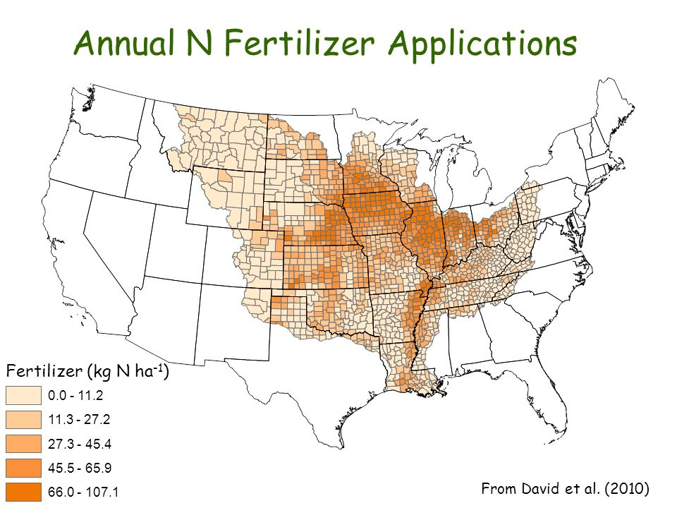 Annual N Fertilizer Applications Fertilizer (kg N ha -1 ) 0.0 - 11.2 11.3 - 27.2 27.3 - 45.4 45.5 - 65.9 66.0 - 107.1 From David et al.