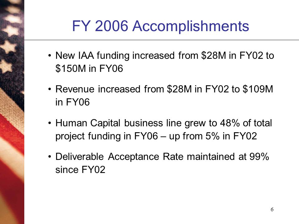 6 FY 2006 Accomplishments New IAA funding increased from $28M in FY02 to $150M in FY06 Revenue increased from $28M in FY02 to $109M in FY06 Human Capital business line grew to 48% of total project funding in FY06 – up from 5% in FY02 Deliverable Acceptance Rate maintained at 99% since FY02