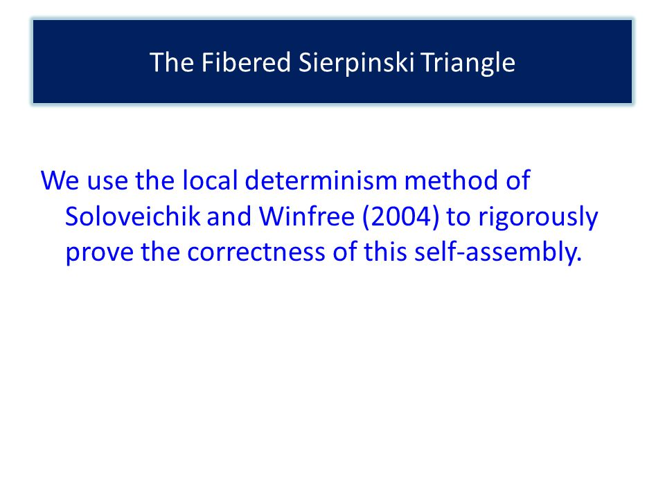 We use the local determinism method of Soloveichik and Winfree (2004) to rigorously prove the correctness of this self-assembly.