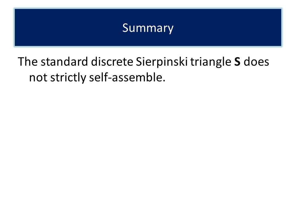 The standard discrete Sierpinski triangle S does not strictly self-assemble. Summary