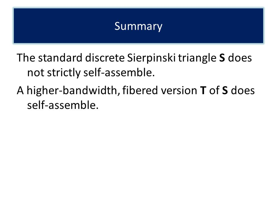 The standard discrete Sierpinski triangle S does not strictly self-assemble. A higher-bandwidth, fibered version T of S does self-assemble. Summary