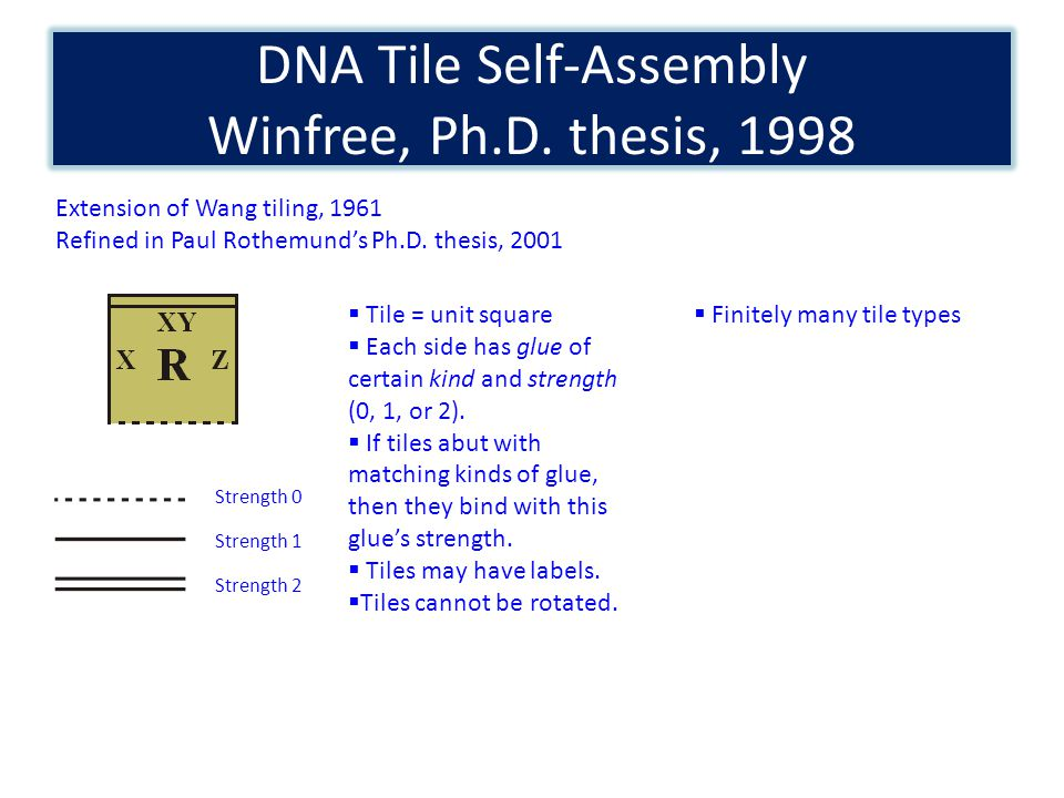 DNA Tile Self-Assembly Winfree, Ph.D.