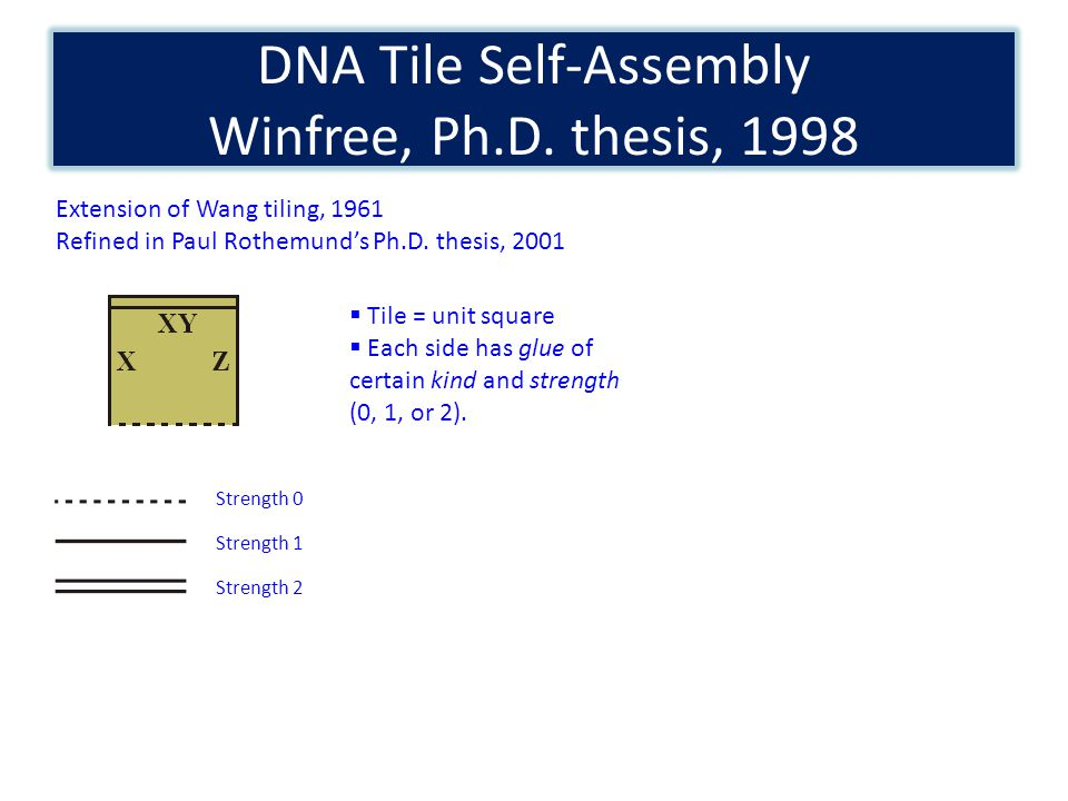 DNA Tile Self-Assembly Winfree, Ph.D. thesis, 1998 Extension of Wang tiling, 1961 Refined in Paul Rothemunds Ph.D. thesis, 2001 Strength 0 Strength 1