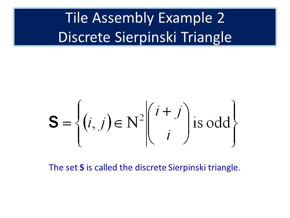 Tile Assembly Example 2 Discrete Sierpinski Triangle The set S is called the discrete Sierpinski triangle.