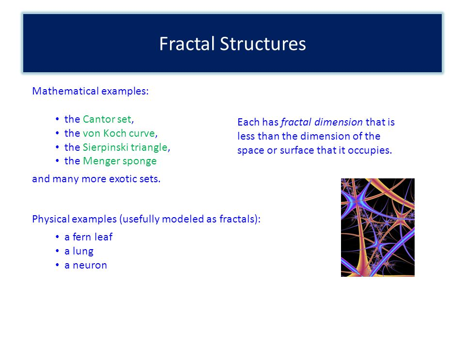 Fractal Structures Mathematical examples: the Cantor set, the von Koch curve, the Sierpinski triangle, the Menger sponge and many more exotic sets. Ea