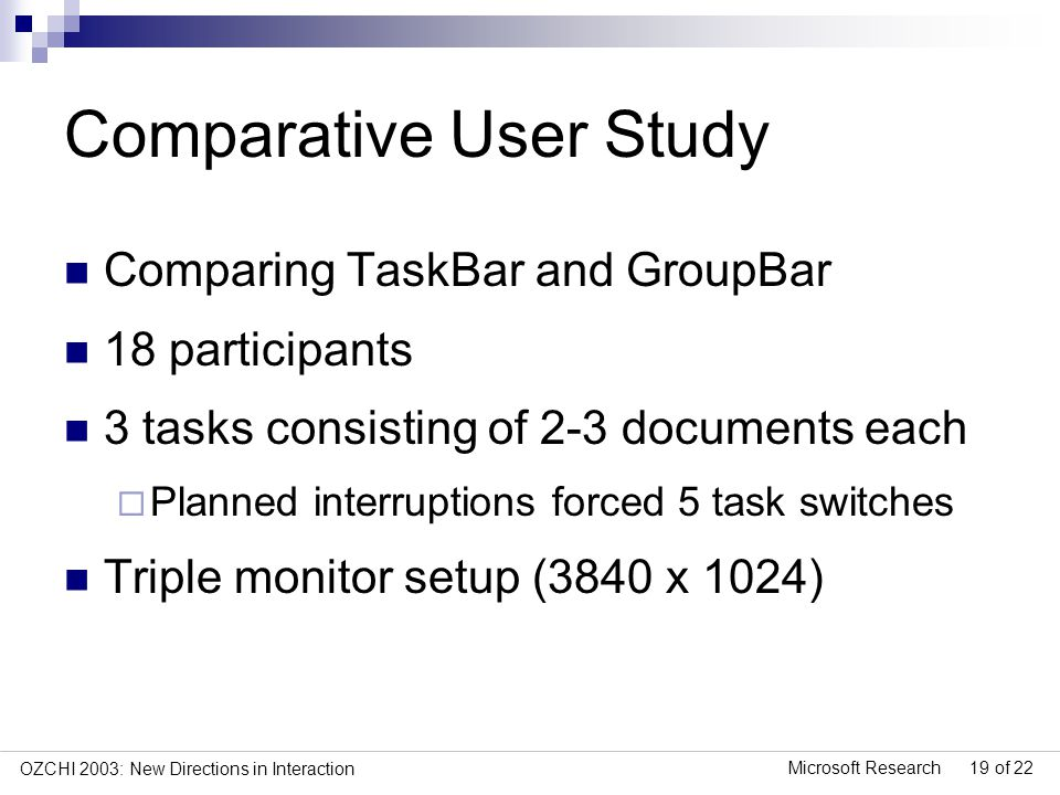 Microsoft Research 19 of 22 OZCHI 2003: New Directions in Interaction Comparative User Study Comparing TaskBar and GroupBar 18 participants 3 tasks consisting of 2-3 documents each Planned interruptions forced 5 task switches Triple monitor setup (3840 x 1024)