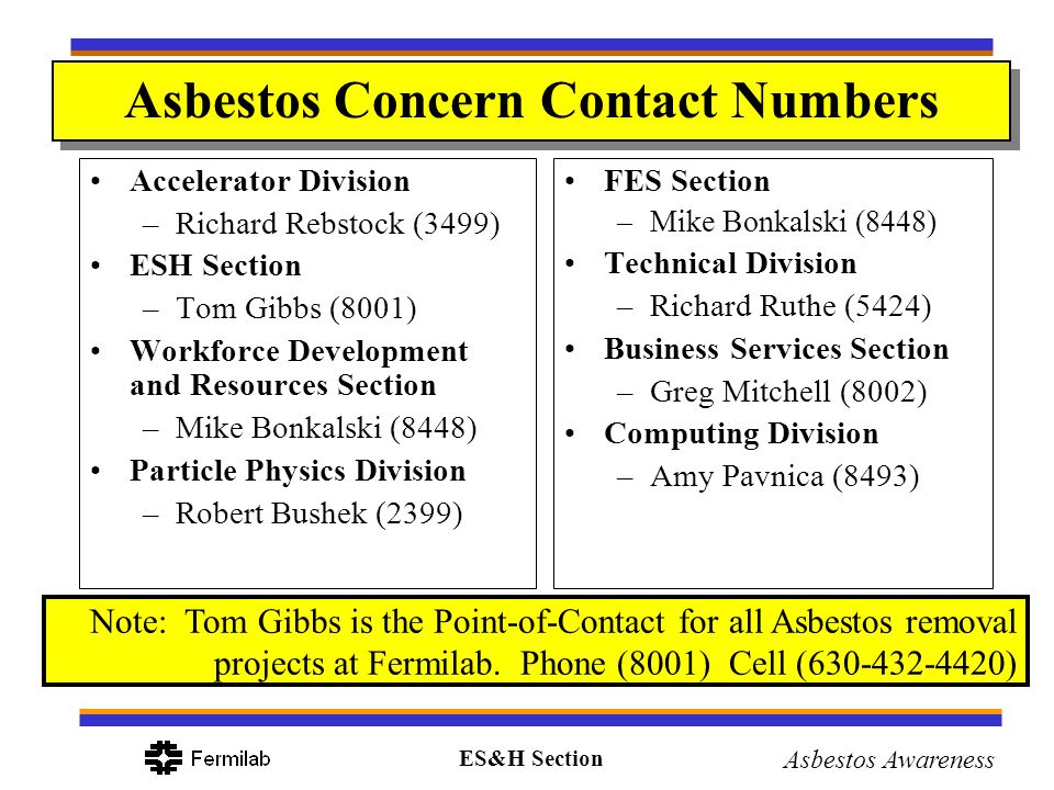 ES&H Section Asbestos Awareness Asbestos Concern Contact Numbers Accelerator Division –Richard Rebstock (3499) ESH Section –Tom Gibbs (8001) Workforce