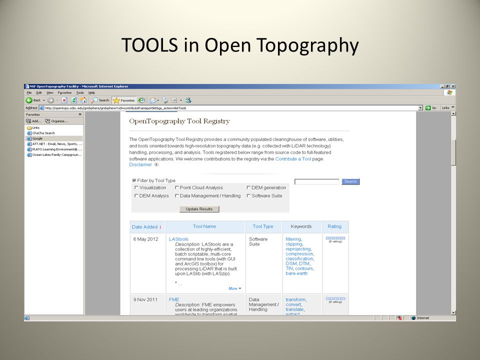 TOOLS in Open Topography