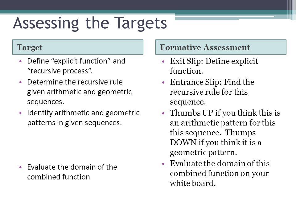 Assessing the Targets Target Define explicit function and recursive process. Determine the recursive rule given arithmetic and geometric sequences. Id