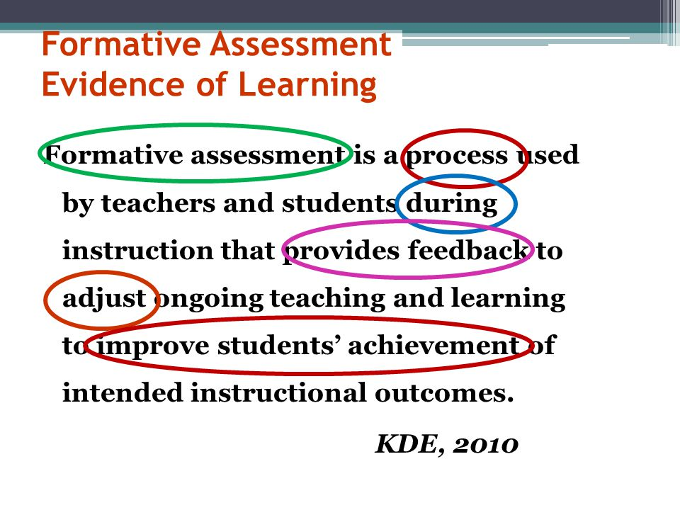 Formative Assessment Evidence of Learning Formative assessment is a process used by teachers and students during instruction that provides feedback to