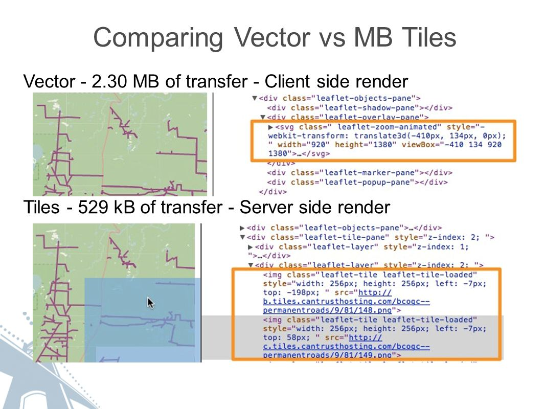 Comparing Vector vs MB Tiles Vector - 2.30 MB of transfer - Client side render Tiles - 529 kB of transfer - Server side render