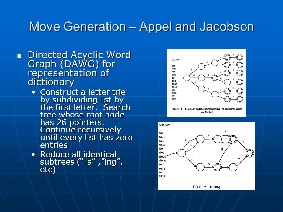 Move Generation – Appel and Jacobson Algorithm Algorithm Scan the board for places where a word could connect to letters already on the boardScan the board for places where a word could connect to letters already on the board Build up the word incrementally by using letters in the rack and on the board near the proposed attachment positionBuild up the word incrementally by using letters in the rack and on the board near the proposed attachment position With the DAWG data structure, this search becomes one dimensionalWith the DAWG data structure, this search becomes one dimensional Crosschecks – when making an across play, the newly placed tiles must also form down words with adjacent tiles.