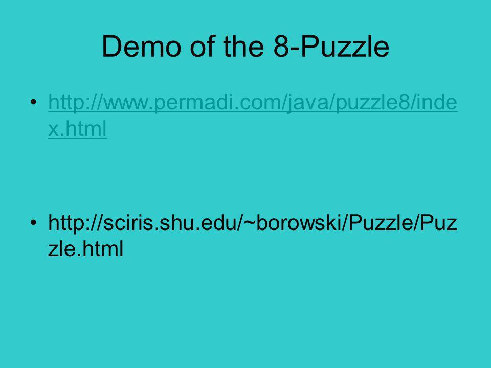 Demo of the 8-Puzzle http://www.permadi.com/java/puzzle8/inde x.htmlhttp://www.permadi.com/java/puzzle8/inde x.html http://sciris.shu.edu/~borowski/Puzzle/Puz zle.html