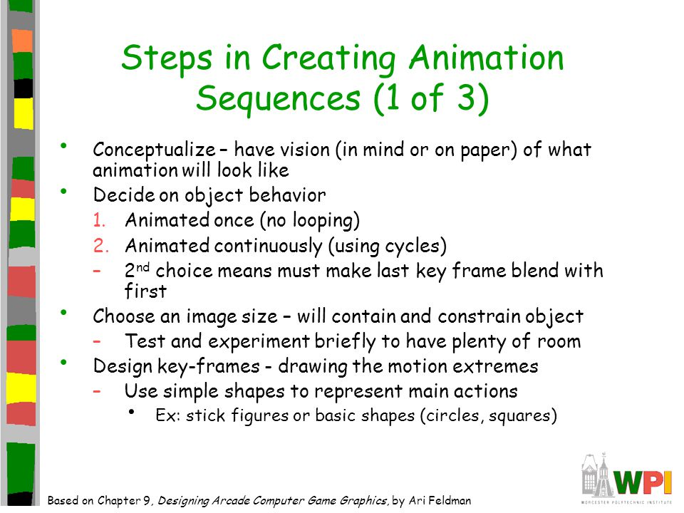Steps in Creating Animation Sequences (1 of 3) Conceptualize – have vision (in mind or on paper) of what animation will look like Decide on object behavior 1.Animated once (no looping) 2.Animated continuously (using cycles) –2 nd choice means must make last key frame blend with first Choose an image size – will contain and constrain object –Test and experiment briefly to have plenty of room Design key-frames - drawing the motion extremes –Use simple shapes to represent main actions Ex: stick figures or basic shapes (circles, squares) Based on Chapter 9, Designing Arcade Computer Game Graphics, by Ari Feldman