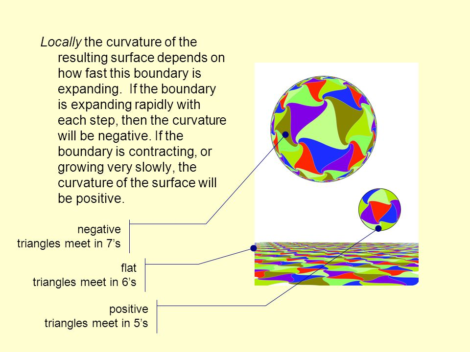 Locally the curvature of the resulting surface depends on how fast this boundary is expanding.