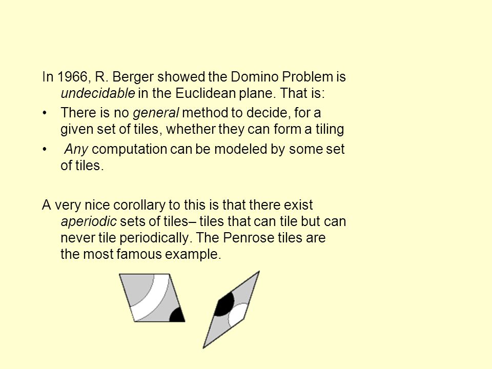 In 1966, R. Berger showed the Domino Problem is undecidable in the Euclidean plane.