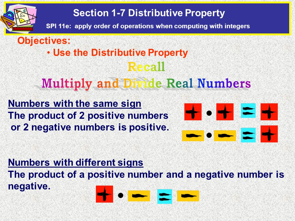 Numbers with the same sign The product of 2 positive numbers or 2 negative numbers is positive.