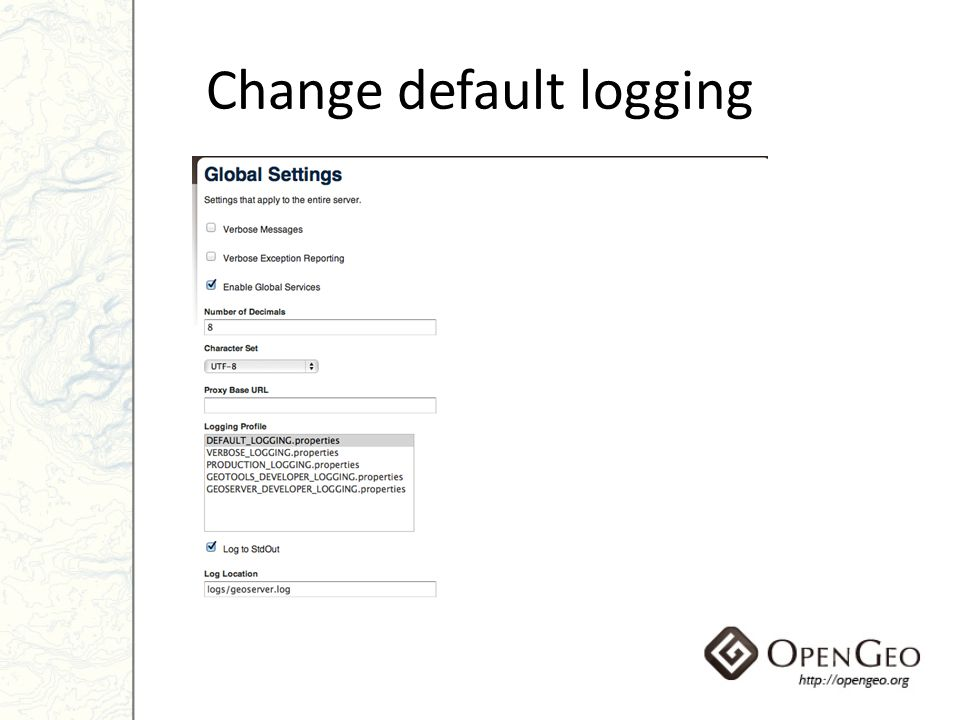 Change default logging