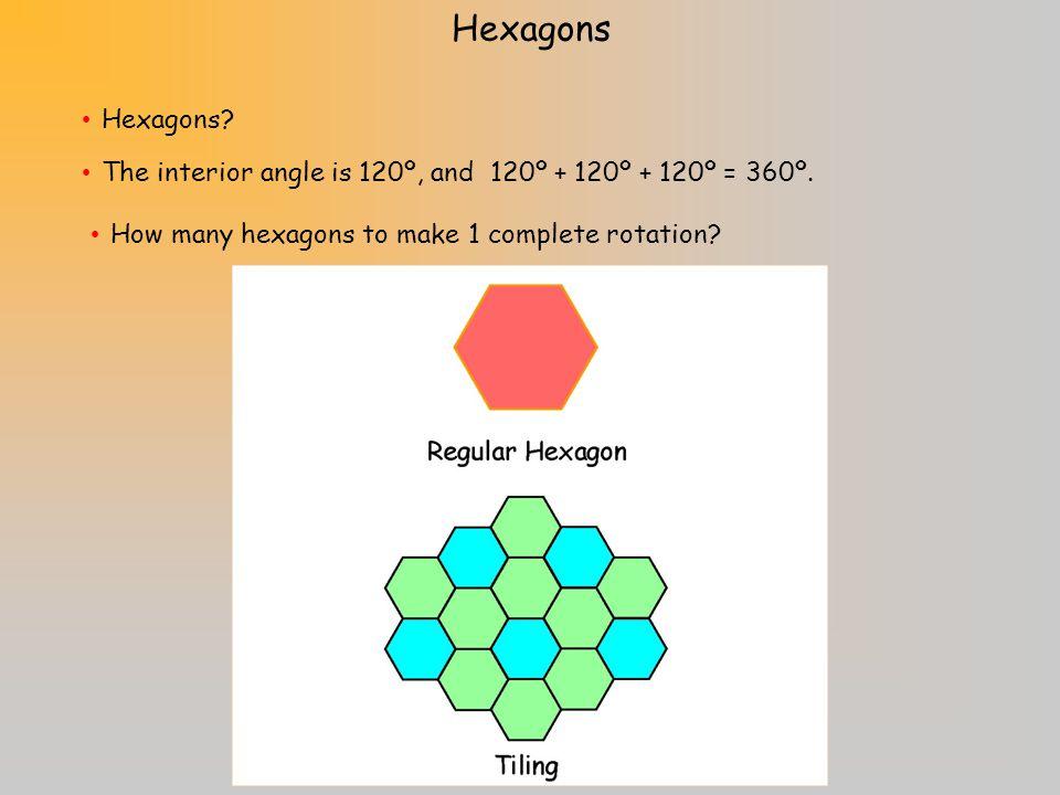 Will pentagons work? Pentagons The interior angle of a pentagon is 108º, and 108º + 108º + 108º = 324º.
