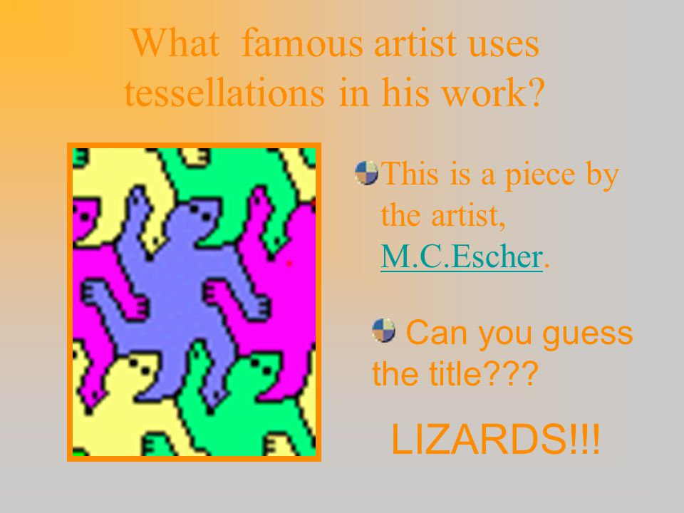 A REGULAR TESSELLATION is … a tessellation made up of congruent regular polygons. Regular polygons are polygons that are the same size and shape. Regu