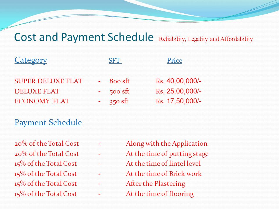 Cost and Payment Schedule Reliability, Legality and Affordability Category SFT Price SUPER DELUXE FLAT- 800 sft Rs.