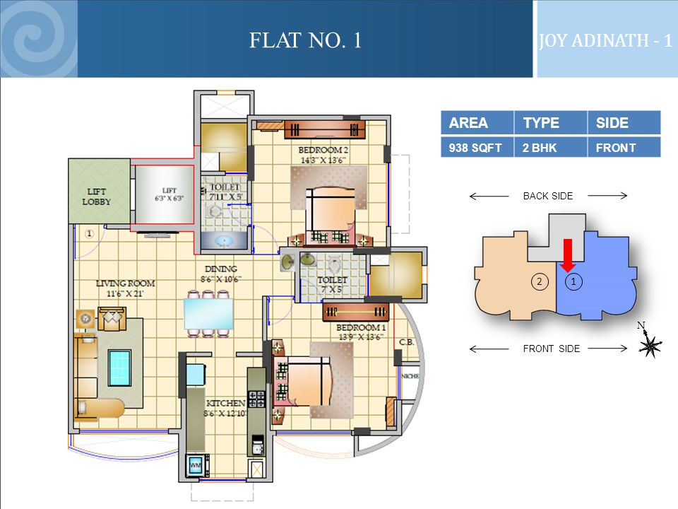 FLAT NO. 1 JOY ADINATH - 1 AREATYPESIDE 938 SQFT2 BHKFRONT FRONT SIDE BACK SIDE 21
