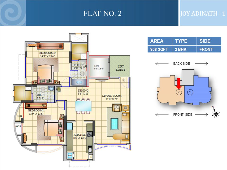 FLAT NO. 2 JOY ADINATH - 1 FRONT SIDE BACK SIDE 2 1 AREATYPESIDE 938 SQFT2 BHKFRONT
