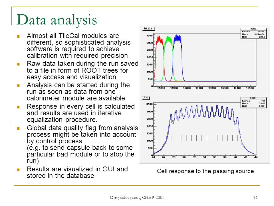 Oleg Solovyanov, CHEP-2007 16 Data analysis Almost all TileCal modules are different, so sophisticated analysis software is required to achieve calibration with required precision Raw data taken during the run saved to a file in form of ROOT trees for easy access and visualization.
