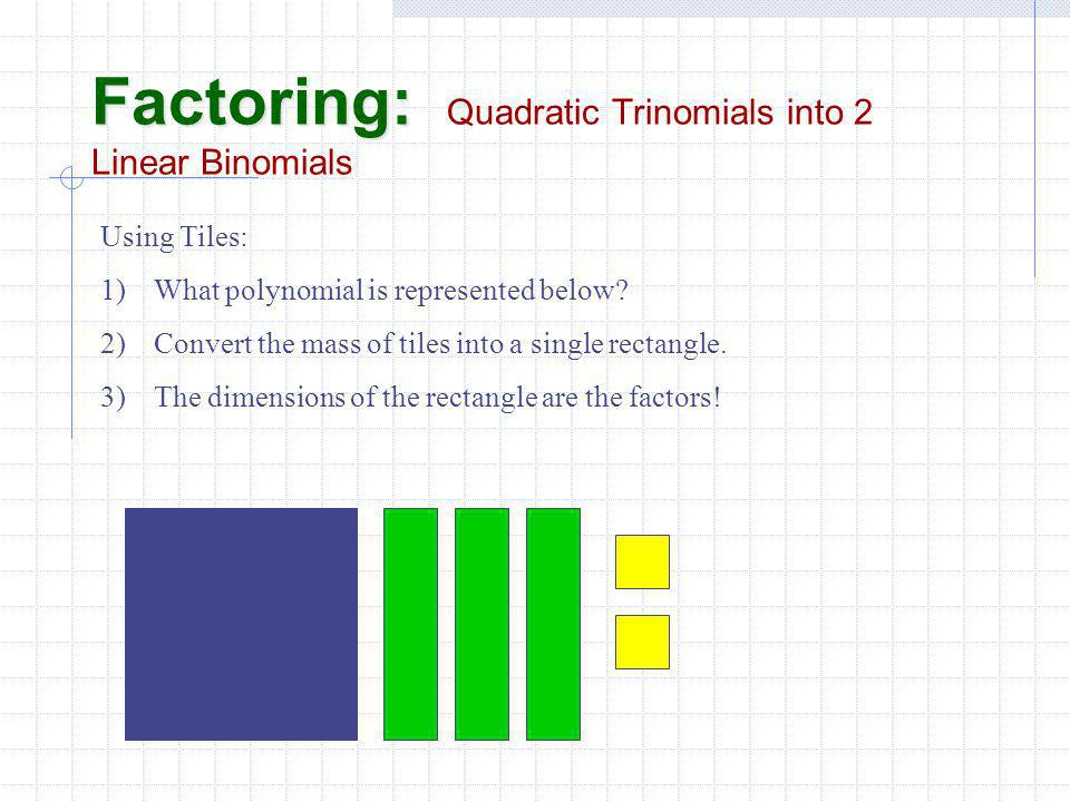 Factoring: Factoring: Quadratic Trinomials into 2 Linear Binomials Using Tiles: 1)What polynomial is represented below.