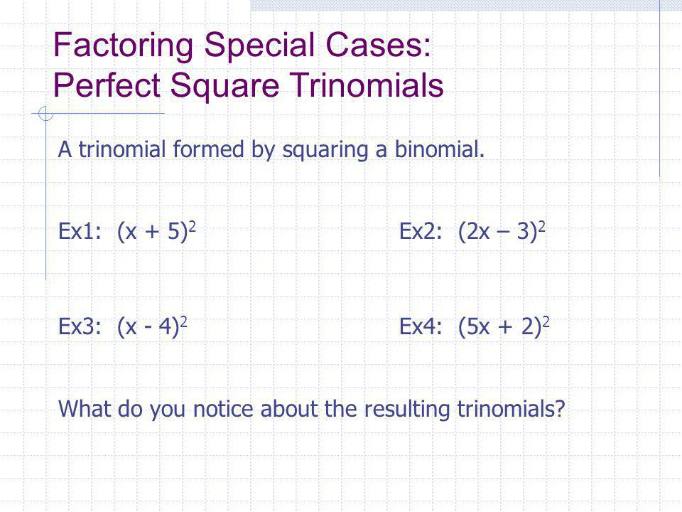 Factoring Special Cases: Perfect Square Trinomials A trinomial formed by squaring a binomial.