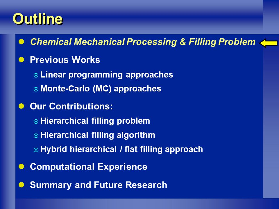 Outline Chemical Mechanical Processing & Filling Problem Previous Works Linear programming approaches Monte-Carlo (MC) approaches Our Contributions: Hierarchical filling problem Hierarchical filling algorithm Hybrid hierarchical / flat filling approach Computational Experience Summary and Future Research
